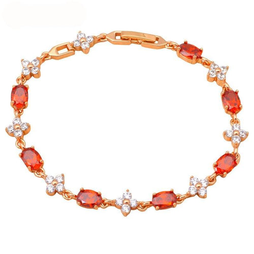 Beautiful Wedding & Anniversary Garnet, Crystal and Gold Bracelet