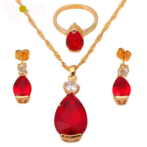 Garnet & Gold Necklaces, Ring & Earrings Jewelry Set