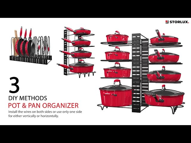 The Storlux Organizer comes with 8 adjustable tiers that can either be installed on both sides of the pot rack or only one side for 4 – vertically or horizontally.