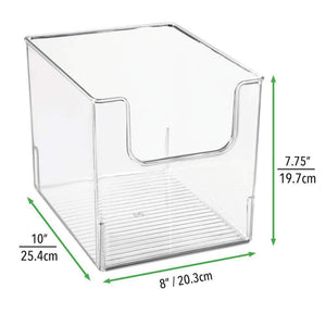 Purchase mdesign plastic open front bathroom storage organizer basket bin for cabinets shelves countertops bedroom kitchen laundry room closet garage 8 wide 4 pack clear