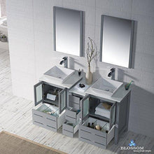 Load image into Gallery viewer, Top rated blossom sydney 60 inches double vessel sink bathroom vanity side cabinet vessel ceramic sink with mirror solid wood metal grey 001 60 15d 1616v