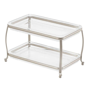 Discover idesign york plastic free standing double vanity tray 2 shelves storage for countertops desks dressers bathroom 10 5 x 6 5 x 6 satin silver and clear