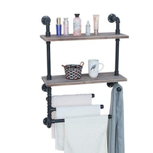 Load image into Gallery viewer, Top rated industrial towel rack with 3 towel bar 24in rustic bathroom shelves wall mounted 2 tiered farmhouse black pipe shelving wood shelf metal floating shelves towel holder iron distressed shelf over toilet