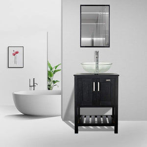 Shop for 24 bathroom vanity and sink combo stand cabinet mdf board cabinet tempered glass vessel sink round clear sink bowl 1 5 gpm water save chrome faucet solid brass pop up drain w mirror