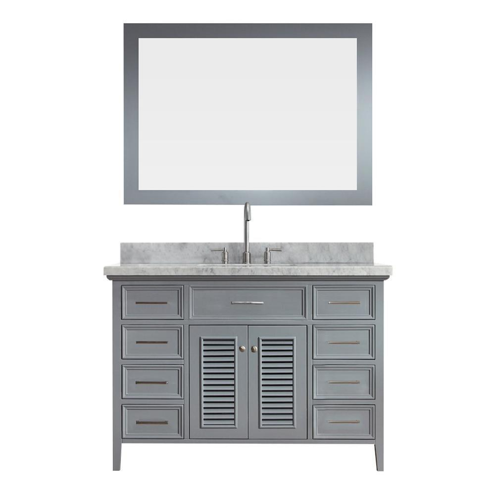 Great ariel kensington d049s gry 49 inch solid wood single sink bathroom vanity set in grey with white carrara marble countertop
