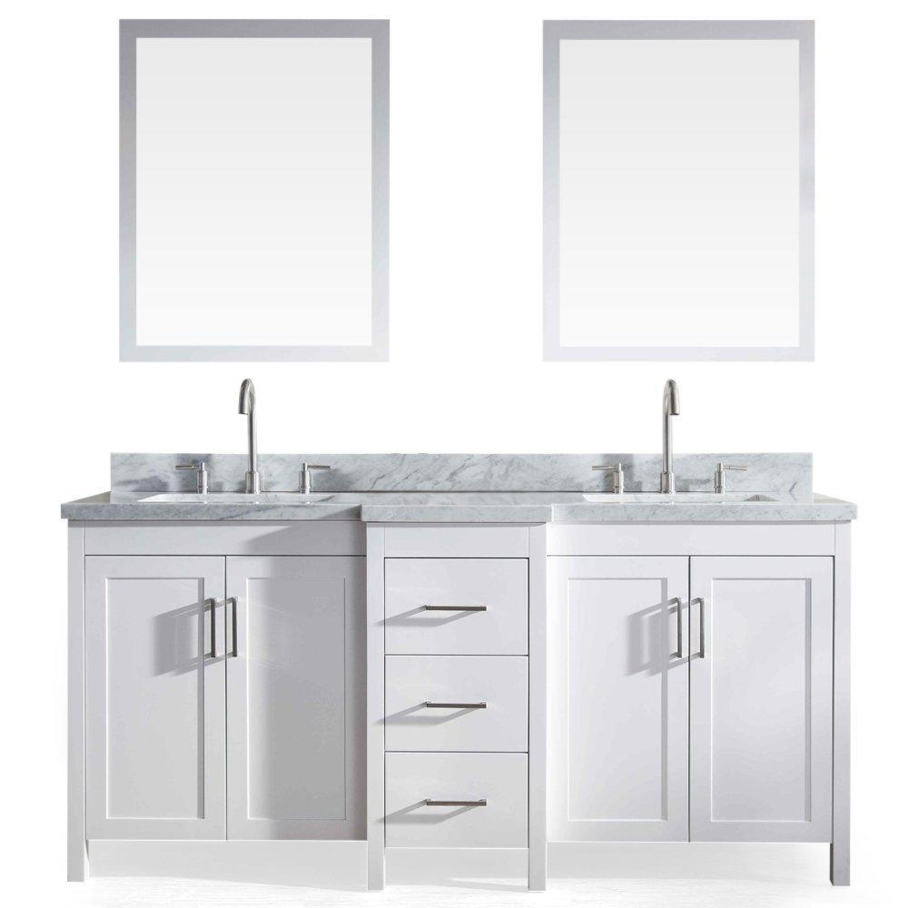 Top rated ariel e073d wht hollandale 73 solid wood double sink bathroom vanity set in white with white carrara marble countertop and mirror