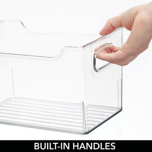 Budget friendly mdesign plastic storage organizer holder bin box with handles for cube furniture shelving organization for closet kids bedroom bathroom home office 10 x 6 x 6 high 8 pack clear