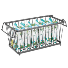 Load image into Gallery viewer, Home mdesign household stackable metal wire storage organizer bin basket with built in handles for kitchen cabinets pantry closets bedrooms bathrooms 12 5 wide 6 pack graphite gray