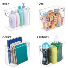Load image into Gallery viewer, Discover the mdesign slim plastic storage container bin with handles bathroom cabinet organizer for toiletries makeup shampoo conditioner face scrubbers loofahs bath salts 5 wide 4 pack clear
