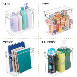Discover the mdesign slim plastic storage container bin with handles bathroom cabinet organizer for toiletries makeup shampoo conditioner face scrubbers loofahs bath salts 5 wide 4 pack clear