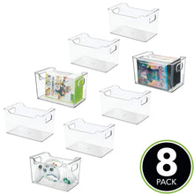 Load image into Gallery viewer, Buy mdesign plastic storage organizer holder bin box with handles for cube furniture shelving organization for closet kids bedroom bathroom home office 10 x 6 x 6 high 8 pack clear