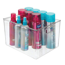 Load image into Gallery viewer, Purchase mdesign plastic storage organizer bin tote for organizing bathroom hand soaps body wash shampoo lotion conditioners hand towels hair accessories body spray mouthwash 8 high 8 pack clear