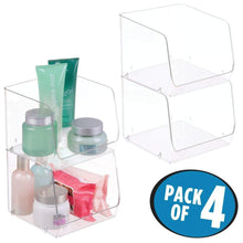 Load image into Gallery viewer, Online shopping mdesign large stackable plastic bathroom storage organizer bin basket with wide open front for vanity countertops cabinets closets under sinks cube 7 75 wide 4 pack clear