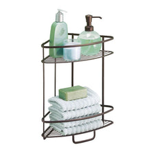 Load image into Gallery viewer, Discover the best interdesign axis free standing bathroom or shower corner storage shelves for towels soap shampoo lotion accessories soap 2 tier bronze