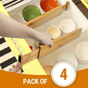 Latest hossejoy bamboo drawer divider kitchen drawer organizer spring adjustable expendable drawer dividers best dividers for kitchen dresser bedroom baby drawer bathroom desk pack of 4