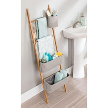 Load image into Gallery viewer, Top interdesign formbu wren free standing bathroom storage ladder with bins for towels beauty products lotion soap toilet paper accessories natural gray