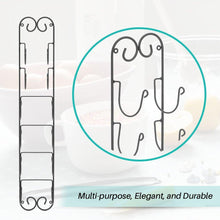 Load image into Gallery viewer, New rolling pin wall mount adds an elegant appeal to any room with this durable iron material with a black finish wall mount in the kitchen to store wine bottles hang in the bathroom for towel storage