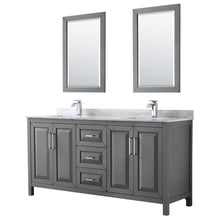Load image into Gallery viewer, Buy now wyndham collection daria 72 inch double bathroom vanity in dark gray white carrara marble countertop undermount square sinks and 24 inch mirrors