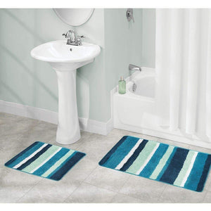 Buy mdesign soft microfiber polyester spa rugs for bathroom vanity tub shower water absorbent machine washable plush non slip rectangular accent rug mat striped design set of 3 sizes teal blue