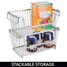 Load image into Gallery viewer, Storage organizer mdesign modern farmhouse metal wire household stackable storage organizer bin basket with handles for kitchen cabinets pantry closets bathrooms 12 5 wide 6 pack chrome