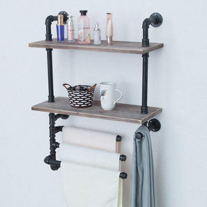 Amazon industrial towel rack with 3 towel bar 24in rustic bathroom shelves wall mounted 2 tiered farmhouse black pipe shelving wood shelf metal floating shelves towel holder iron distressed shelf over toilet