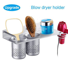 Load image into Gallery viewer, Amazon best hair dryer holder wall mount toothbrush hairdryer holder organizer storage handing rack upgrade special aluminum bathroom hanging rack organizer with 2 cups