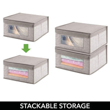 Load image into Gallery viewer, Storage organizer mdesign soft stackable fabric closet storage organizer holder bin with clear window attached hinged lid for bedroom hallway entryway bathroom textured print medium 6 pack linen tan