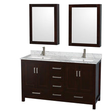 Load image into Gallery viewer, Heavy duty wyndham collection sheffield 60 inch double bathroom vanity in espresso white carrera marble countertop undermount square sinks and medicine cabinets