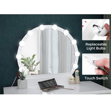 Load image into Gallery viewer, The best vasagle vanity table set with 10 light bulbs and touch switch dressing makeup table desk with large round mirror 2 sliding drawers 1 cushioned stool for bedroom bathroom white urdt11wl