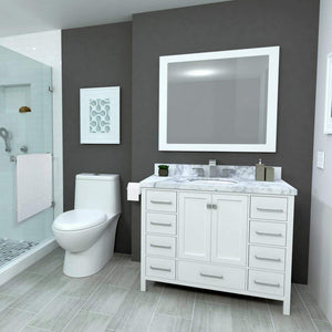 Best seller  ariel cambridge a043s wht 43 single sink solid wood bathroom vanity set in grey with white 1 5 carrara marble countertop