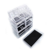 Load image into Gallery viewer, Discover the best offeir us stock clear acrylic stackable cosmetic makeup storage cube organizer jewelry storage drawers case great for bathroom dresser vanity and countertop 3 pieces set 4 small 3 large drawers