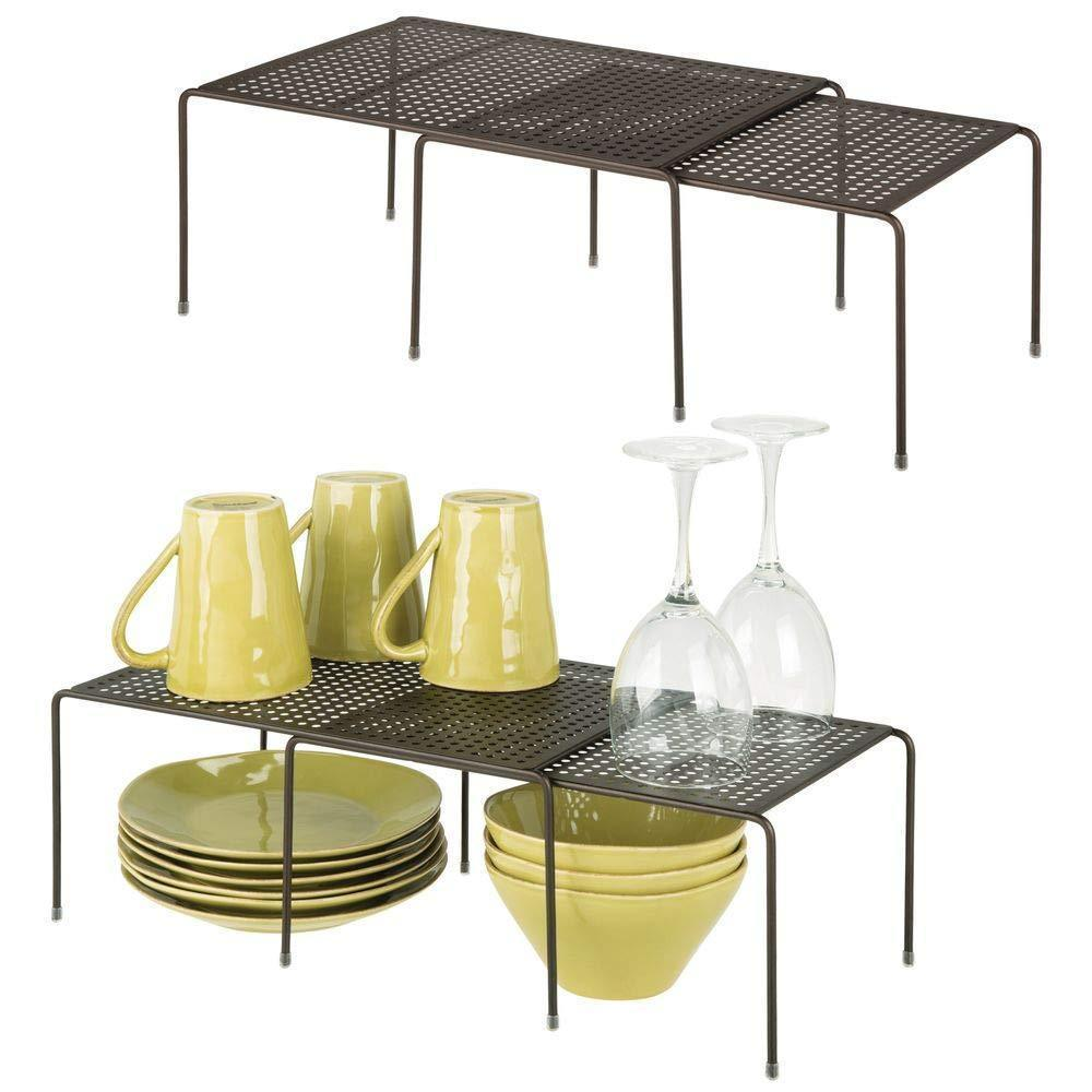 mDesign Adjustable Metal Kitchen Cabinet, Pantry, Countertop Organizer Storage Shelves: Expandable - 4 Piece Set - Durable Steel, Non-Skid Feet - Bronze