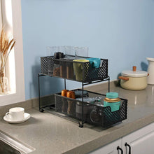Load image into Gallery viewer, New 2 tier organizer baskets with mesh sliding drawers ideal cabinet countertop pantry under the sink and desktop organizer for bathroom kitchen office