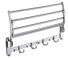 Load image into Gallery viewer, New garbnoire 202 grade stainless steel 2 feet long folding bathroom towel rack swivel towel bar stainless steel wall mounted shelf organization for storage hanging holder above toilet hotel home