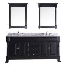 Load image into Gallery viewer, Great virtu usa gd 4072 wmsq dw huntshire 72 double bathroom vanity with marble top and square sink with mirrors 72 inches dark walnut