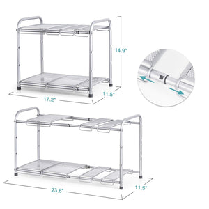 Discover bextsware under sink shelf organizer 2 tier storage rack with flexible expandable 15 to 27 inches for kitchen bathroom cabinet