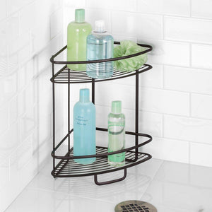 Exclusive interdesign axis free standing bathroom or shower corner storage shelves for towels soap shampoo lotion accessories soap 2 tier bronze