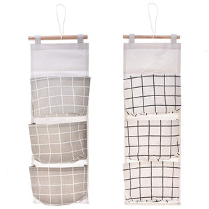 Budget friendly gaiatop hanging storage 2 packs linen cotton fabric wall door closet hanging organizer bags with 3 pockets for living room bedroom bathroom white grey