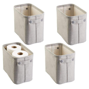 Buy now mdesign soft cotton fabric closet storage organizer bin basket storage organizer for bathroom coated interior attached handles use on vanity cabinet shelf countertop tall 4 pack light gray