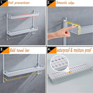 Related 2 layer space aluminum bathroom corner shelf shower caddy shampoo soap cosmetic storage basket kitchen spice rack holder organizer with towel bar and hooks rectangle double