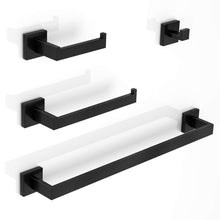 Load image into Gallery viewer, On amazon luckin towel bar set black modern bathroom accessories set matte black bath towel rack set with toilet paper holder 4 pcs