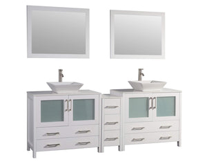 Get vanity art 84 inch bathroom vanity set double ceramic sink top with 2 free mirrors 7 drawers 2 large folding door drawers perfect bathroom organizer white va3136 84w