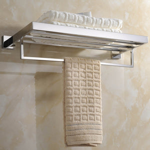 Latest deluxe 24 inch 304 stainless steel bathroom dual layers towel bar shelves holder chrome polishing mirror polished wall mounted