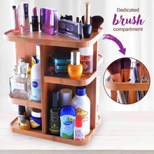 Load image into Gallery viewer, Great refine 360 bamboo cosmetic organizer multi function storage carousel for your vanity bathroom closet kitchen tabletop countertop and desk