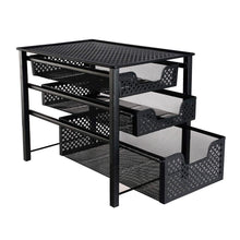 Load image into Gallery viewer, Shop for stackable 3 tier organizer baskets with mesh sliding drawers ideal cabinet countertop pantry under the sink and desktop organizer for bathroom kitchen office