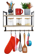 Load image into Gallery viewer, Online shopping spiretro wall mount 2 tier floating shelves with metal bracket rustic torched wood with removable towel rod and s hooks to storage organize hang and display for kitchen book study bathroom grey
