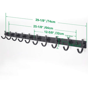 New webi wall mounted coat rack 30 inch 10 hooks rack rail heavy duty coat hat hook for bathroom entryway closet foyer hallway black 2 packs