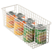 Load image into Gallery viewer, Order now mdesign farmhouse decor metal wire food storage organizer bin basket with handles for kitchen cabinets pantry bathroom laundry room closets garage 16 x 6 x 6 4 pack satin