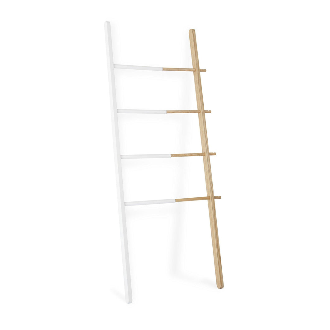 Shop umbra hub ladder adjustable clothing rack for bedroom or freestanding towel rack for bathroom expands from 16 to 24 inches with 4 notched hooks white natural