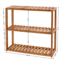 Load image into Gallery viewer, Discover the best songmics bamboo bathroom shelves 3 tier adjustable layer rack bathroom towel shelf utility storage shelf rack wall mounted organizer shelf for bathroom kitchen living room holder natural ubcb13y